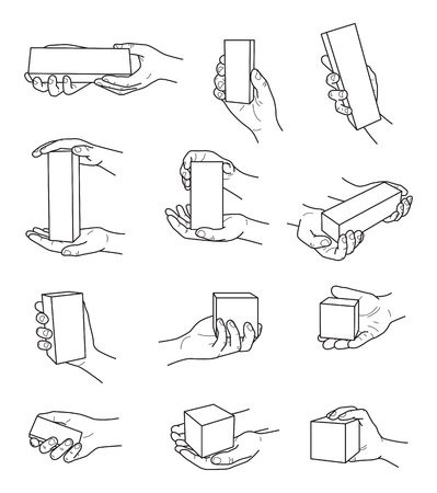 Hand gestures with box contour vector set