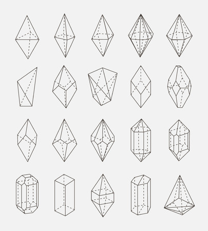 Abstract crystal geometry shapes set Illusztráció