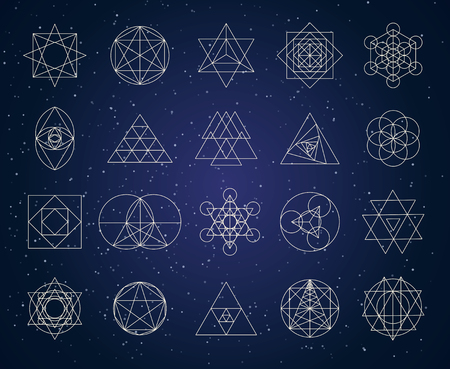 Sacred geometry shapes symbol set