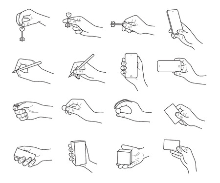 Hand gestures with objects sketch vector set