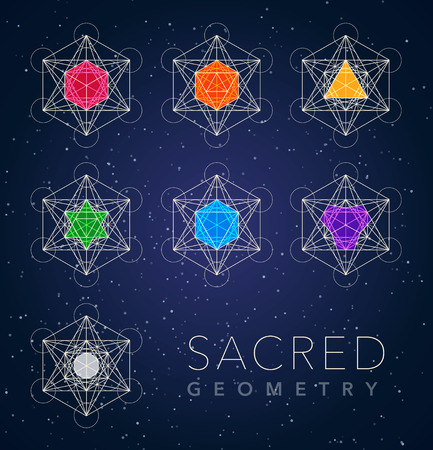 sacred geometry outline shapes vector symbol set Illusztráció