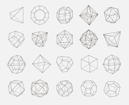 abstract geometry shapes vector outline set Illusztráció