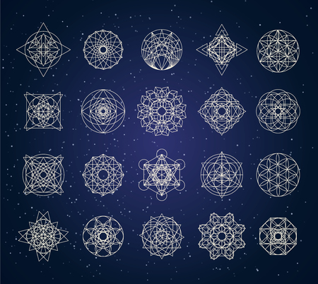sacred geometry outline shapes vector set Illusztráció