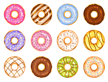 doughnut vector set, colorful tasty sweets flat illustration