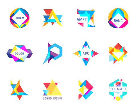 trendy logos geometric opacity shapes vector set
