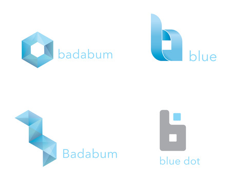 abstract modern design blue crystal icons set vector