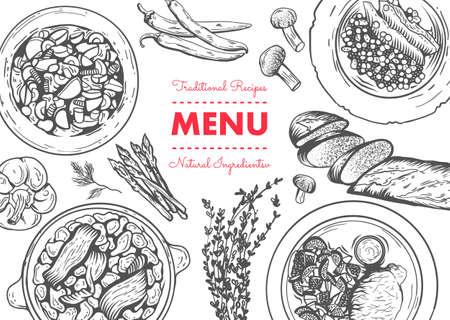 Restaurant lunch menu template. Linear graphic. Vector illustration