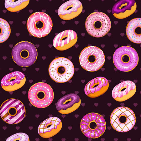doughnut vector set, dark tasty sweets illustration 向量圖像