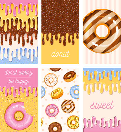 doughnut vector template set, tasty sweets illustration