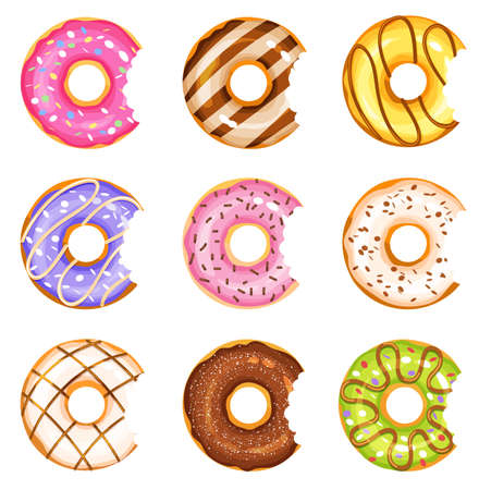 bitten doughnut vector set, tasty sweets illustration