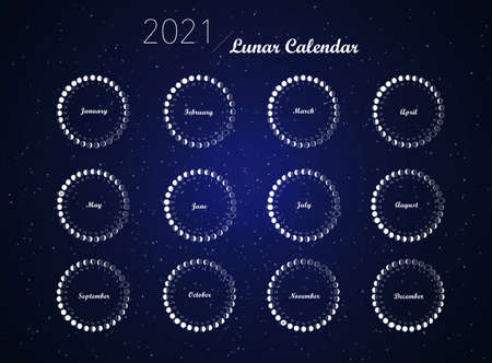 2021 moon phases calendar vector on dark blue