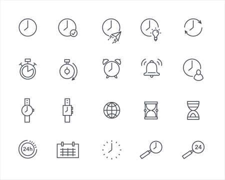 Time thin outline icons vector set template Vektorové ilustrace