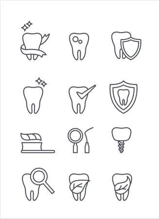 Teeth medicine and dentist thin icons vector set
