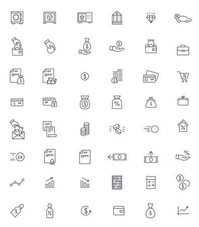 Finance and banking thin icons vector set