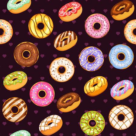 donut vector set, tasty sweets illustration seamless background Vetores