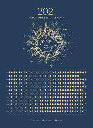 2021 moon phases calendar golden moon and sun astronomy vector Vector Illustration