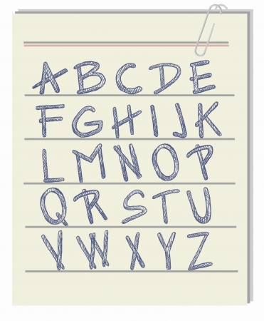 Handwritten alphabet on piece of paper  vector letters   Illustration