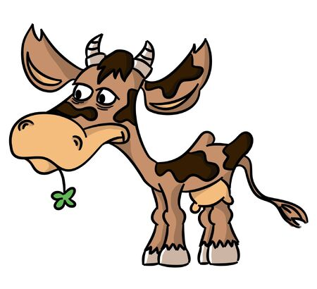 Cartoon funny cow with cloverleaf  vector   Vector