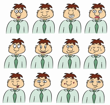 enthusiastic: Various expression of man cartoon