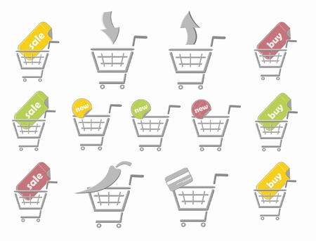 Shopping logo, sign of shopping cart  vector