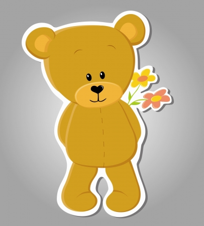 Vector cute bear with flower  Valentine illustration