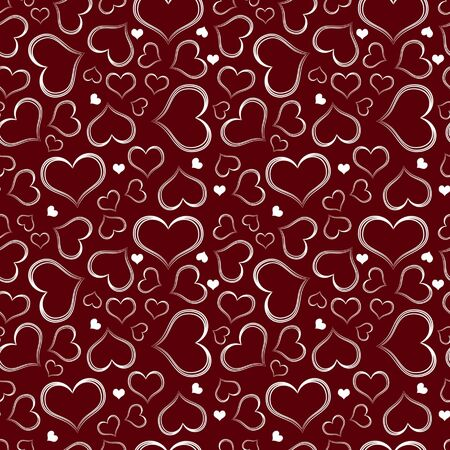 Seamless valentine pattern - white hearts on dark red background  vector   Illustration