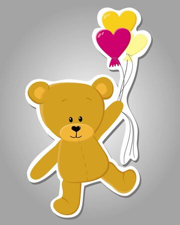 Vector cute bear with balloons  Valentine illustration