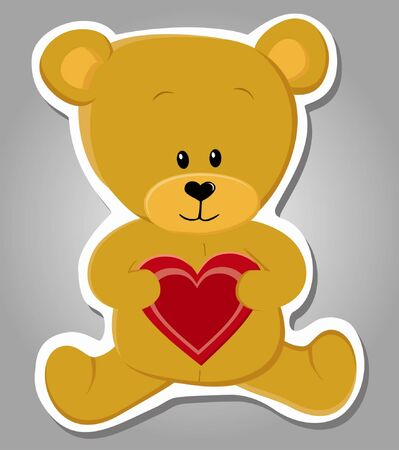 cute bear holding heart  Valentine illustration