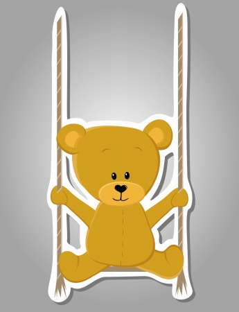 cute bear on swing  Valentine illustration