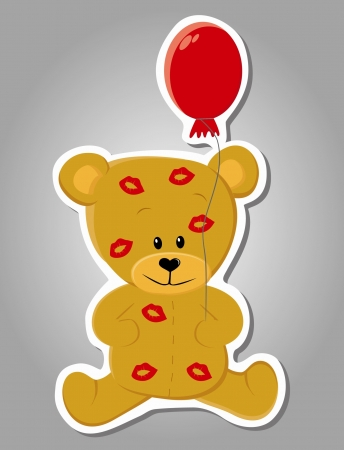 cute kissed bear  Valentine illustration   Illustration