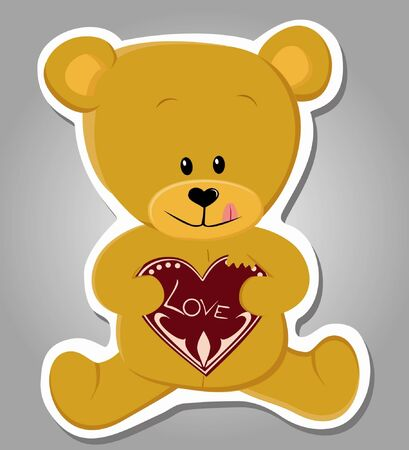 cute bear eating gingerbread heart  Valentine illustration   Vector