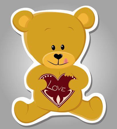 cute bear eating gingerbread heart  Valentine illustration Stock Vector - 17570452