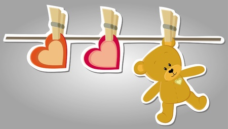 cute bear on string like laundry  Valentine illustration