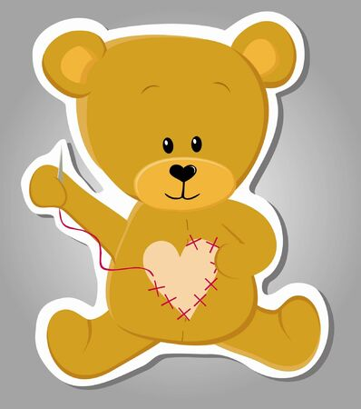 cute bear sewing  Valentine illustration