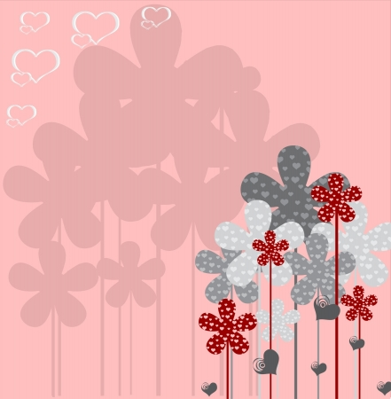Greeting card Valentine Day with flowers