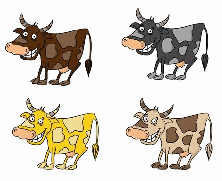 Cartoon set of cows  vector   Illustration