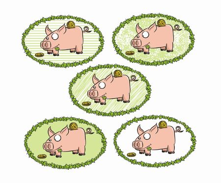 Five cartoon piggy bank in various frame    Illustration