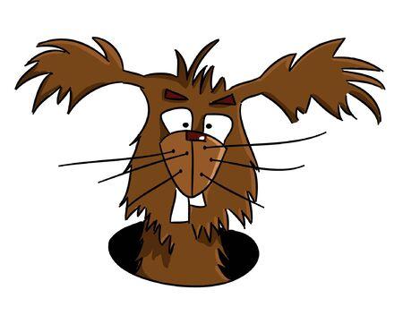 gopher: Cartoon crazy bunny looking from warren