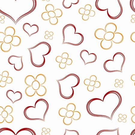 Seamless valentine pattern - hearts and flowers