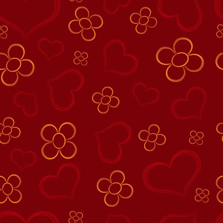 Seamless valentine pattern - hearts and flowers on dark red background   Illustration