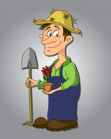 Cartoon gardener