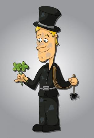 chimney sweep: Cartoon grubby chimney sweep   Illustration
