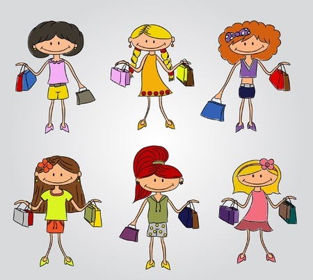 hair bow: Set of shopping girls with bags (vector)