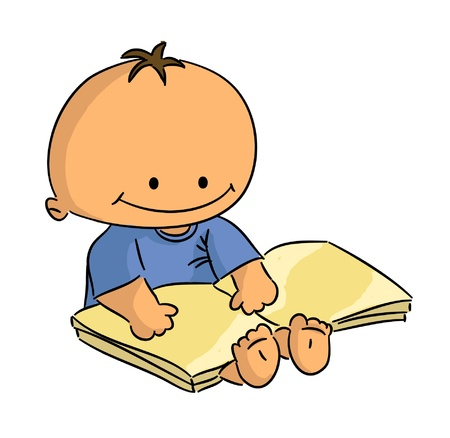 Cartoon small sitting baby reading book (vector)