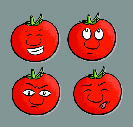 Cartoon tomato expressions