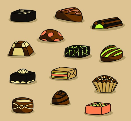 chocolate box: Various types of chocolate (vector)