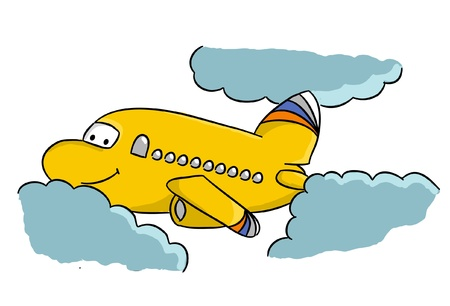 Cartoon airplane in sky Illustration