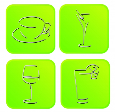 SIGNS OF DRINKS coffee, wine, martini, juice  Illustration