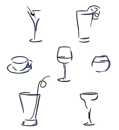 aperitif: Set of glasses  Illustration