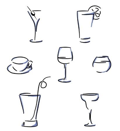 aperitif: Set of glasses  Illustration